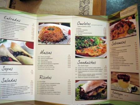 Cardapio restaurante vegetariano Bio Carioca