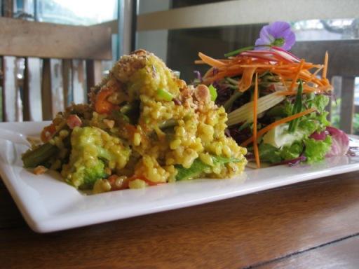 Paella vegetariana acompanhada de salada verde