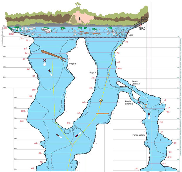 Mapa da Lagoa Misteriosa, cujo fundo ainda não foi descoberto